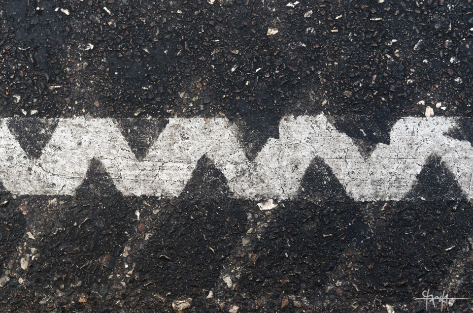 Tracks over White Line