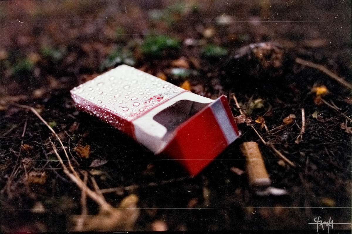 Image Caption: A damp cigarette box in the dirt of Victoria Square. May 2016 - Fujicolor 200. (Shaun Rambaran / Forge Business Imagery)—Click to read this article.