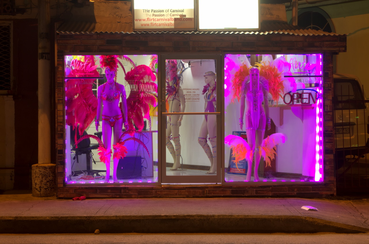 Image Caption: Female mannequins pose in Carnival costumes in Tragarite Road store window. 11th December, 2016.—Click to read this article.