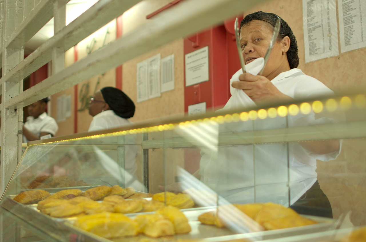 Image Caption: Pies in the showcase of a Port of Spain bakery. 22nd January, 2017.—Click to read this article.